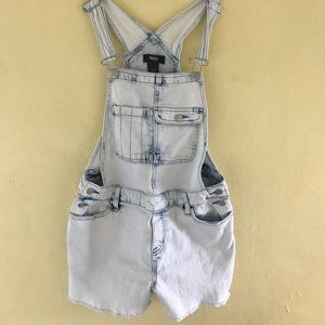 Mossimo Bleach Wash Denim Overalls Women Sz M
